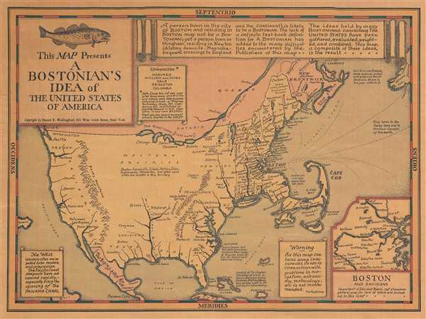 This Map Presents A Bostonian's Idea of the United States of America. - Main View
