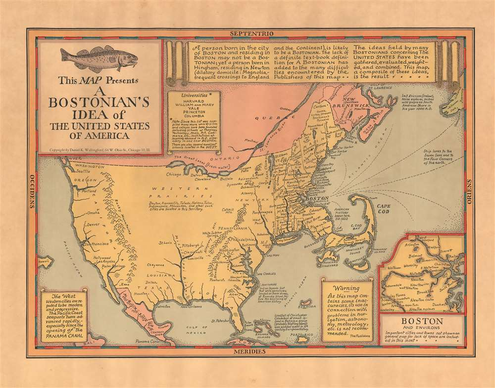 1936 Wallingford Map : A Bostonian's View of the United States