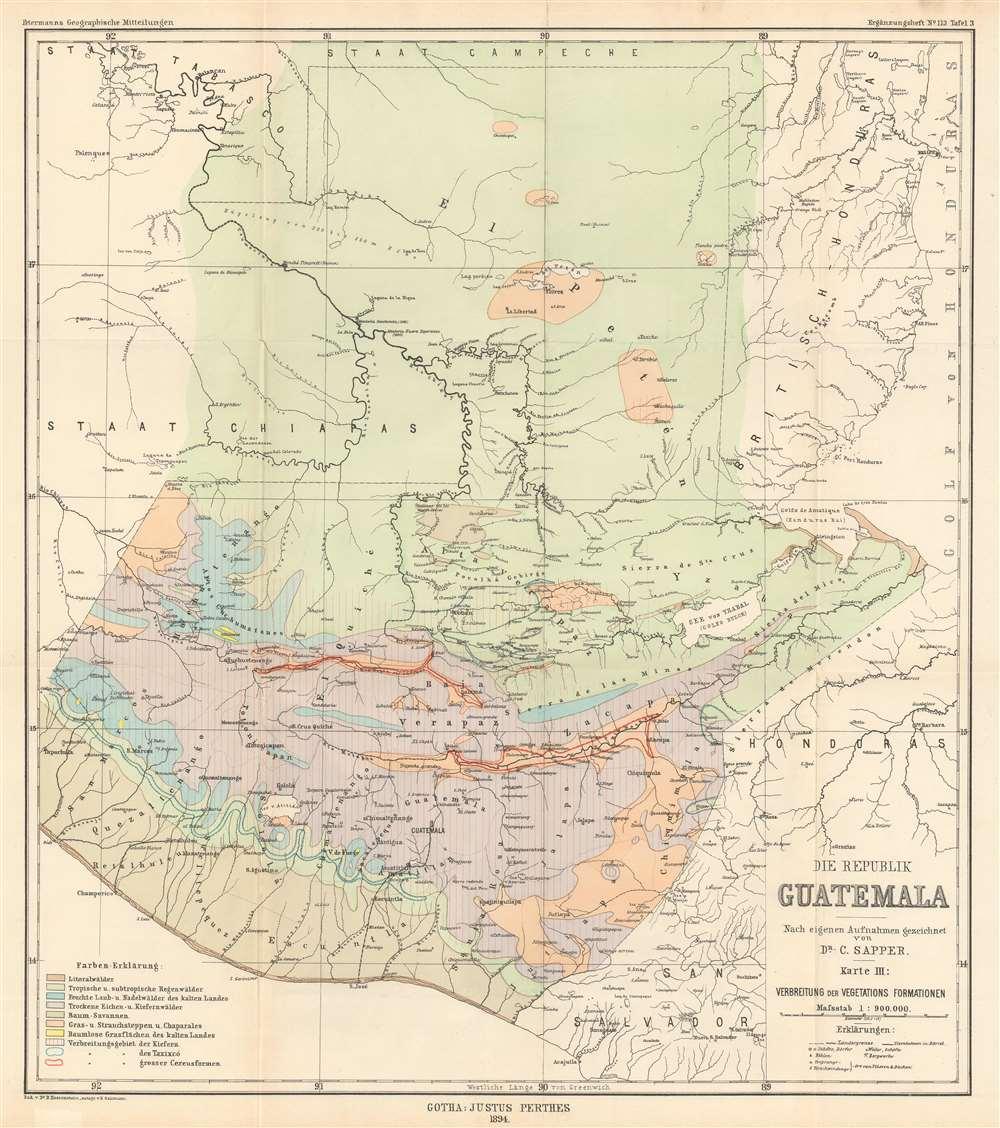 Die Republik Guatemala nach eigenen Aufnahmen gezichnet. Karte III : Verbreitung der Vegetations Formationen. - Main View