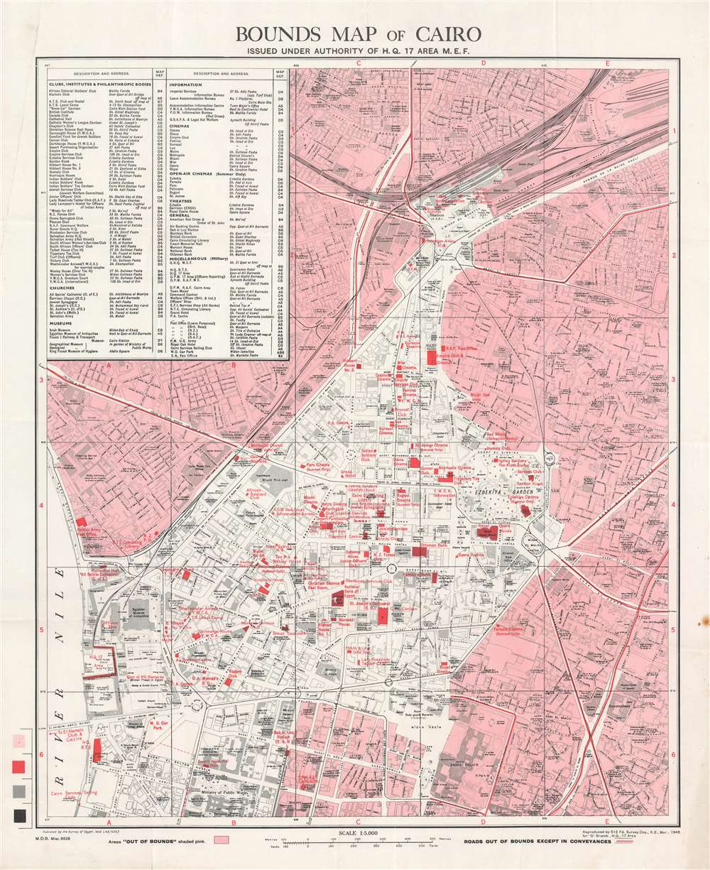 Bounds Map of Cairo Issued Under Authority of H. Q. 17 Area M. E. F. - Main View