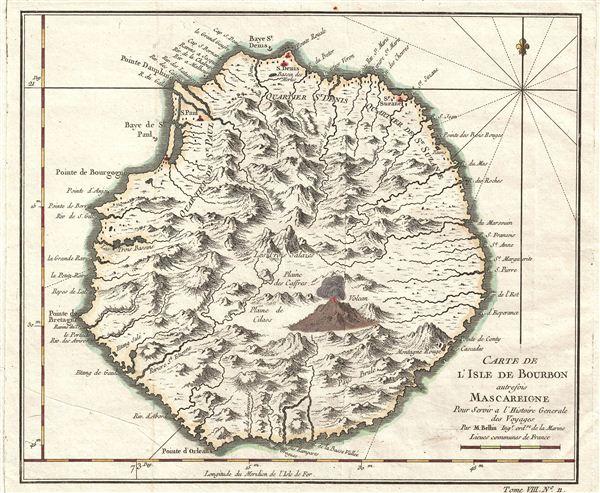 Carte de L'Isle de Bourbon autrefois Mascareigne Pour Servir a l'Histoire Generale des Voyages Par M.  Bellin.