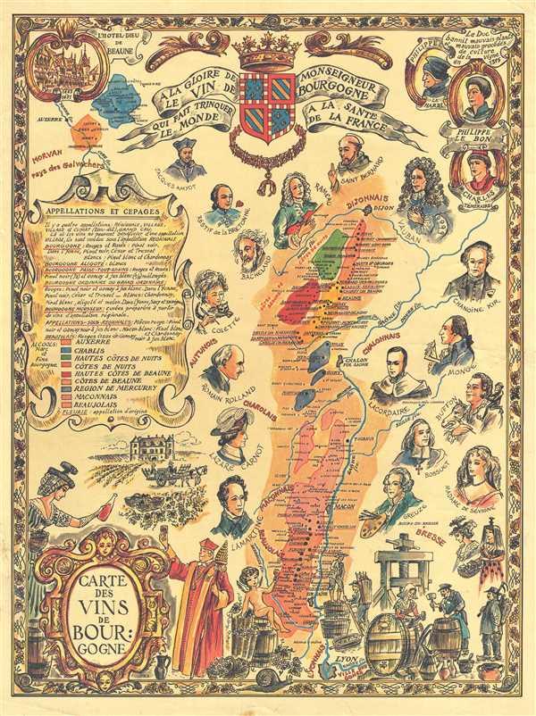Carte des Vins de Bourgogne.