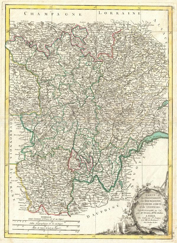 Carte des Gouvernements de Bourgogne, de Franche Comte et de Lyonnois. - Main View