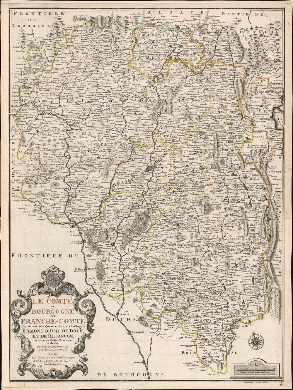 Le Comté de Bourgogne dit France-Comté Divisé en ses Quatres Grands Balliages d'Amont, d'Aval, de Dole, et de Besançon. - Main View
