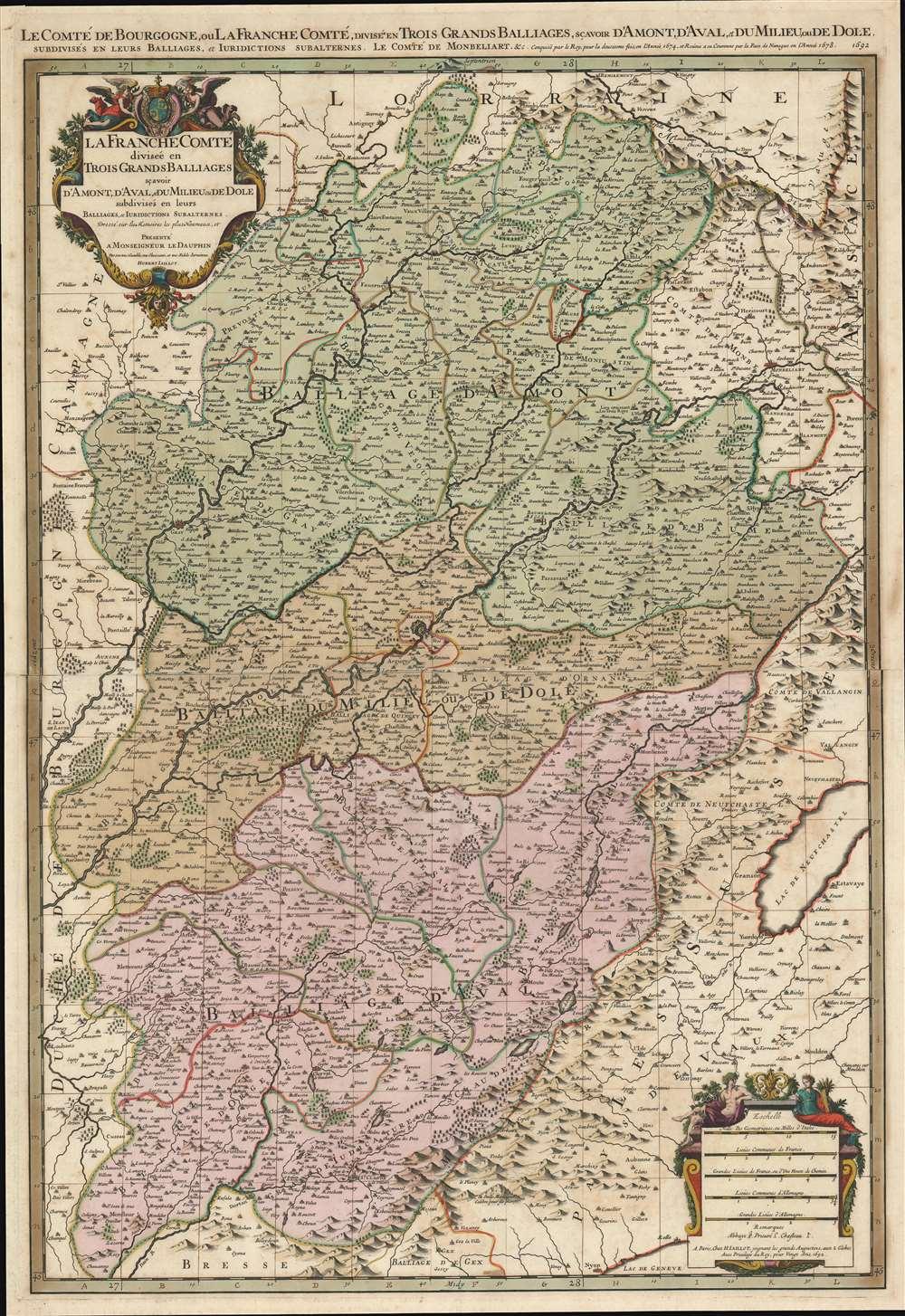 Le Comté de Bourgogne, ou La Franche Comté, Divisée en Trois Grands Balliages, Scavoir d'Amont, d'Aval, et du Milieu, ou de Dole, Subdivisés en Leurs Balliages, et Jurisdictions Subalternes. - Main View