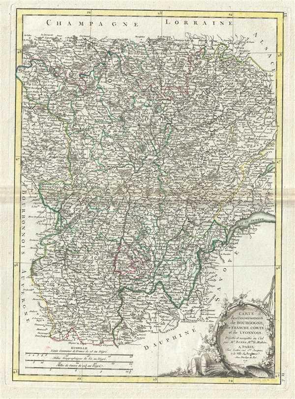 Carte des Gouvernements de Bourgogne, de Franche Comte et de Lyonnois.