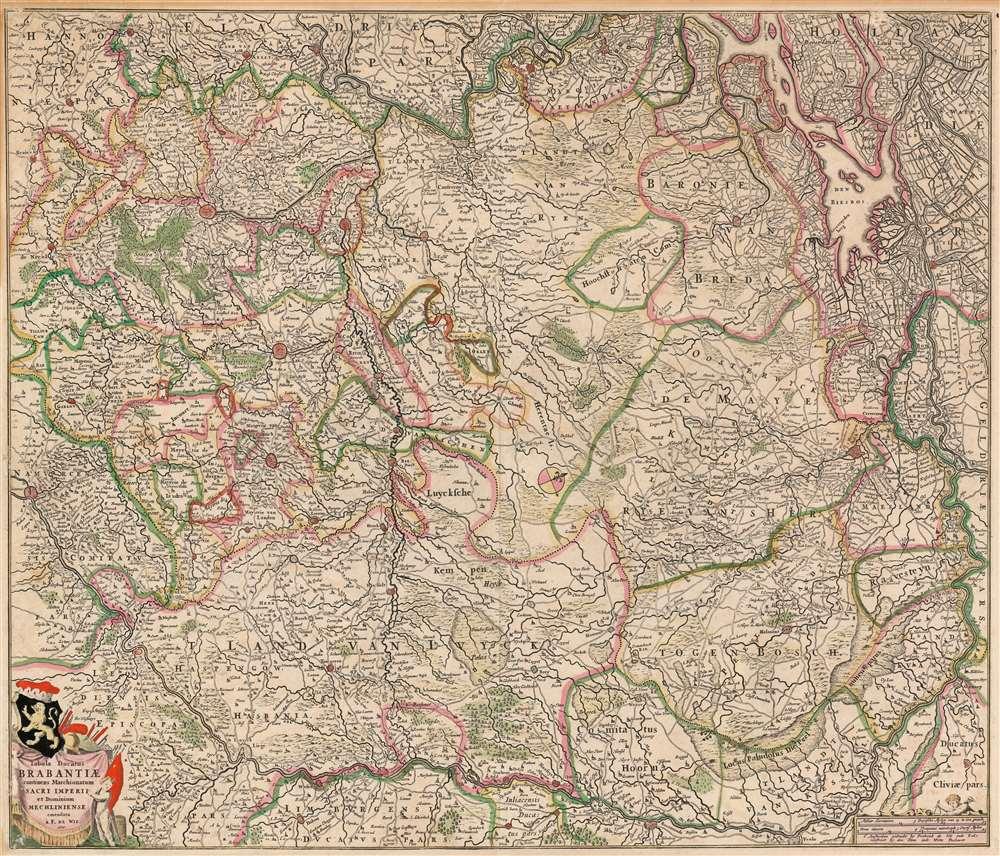 1666 De Wit map of the Duchy of Brabant