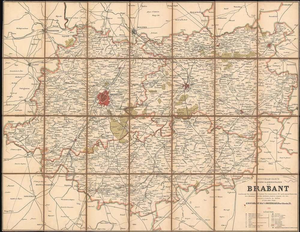 Nouvelle Carte Routière et Administrative du Brabant contenant les noms de toutes les communies, des principaux hameaux, les chemins de fer, station, routes, canaux, etc. etc. - Main View