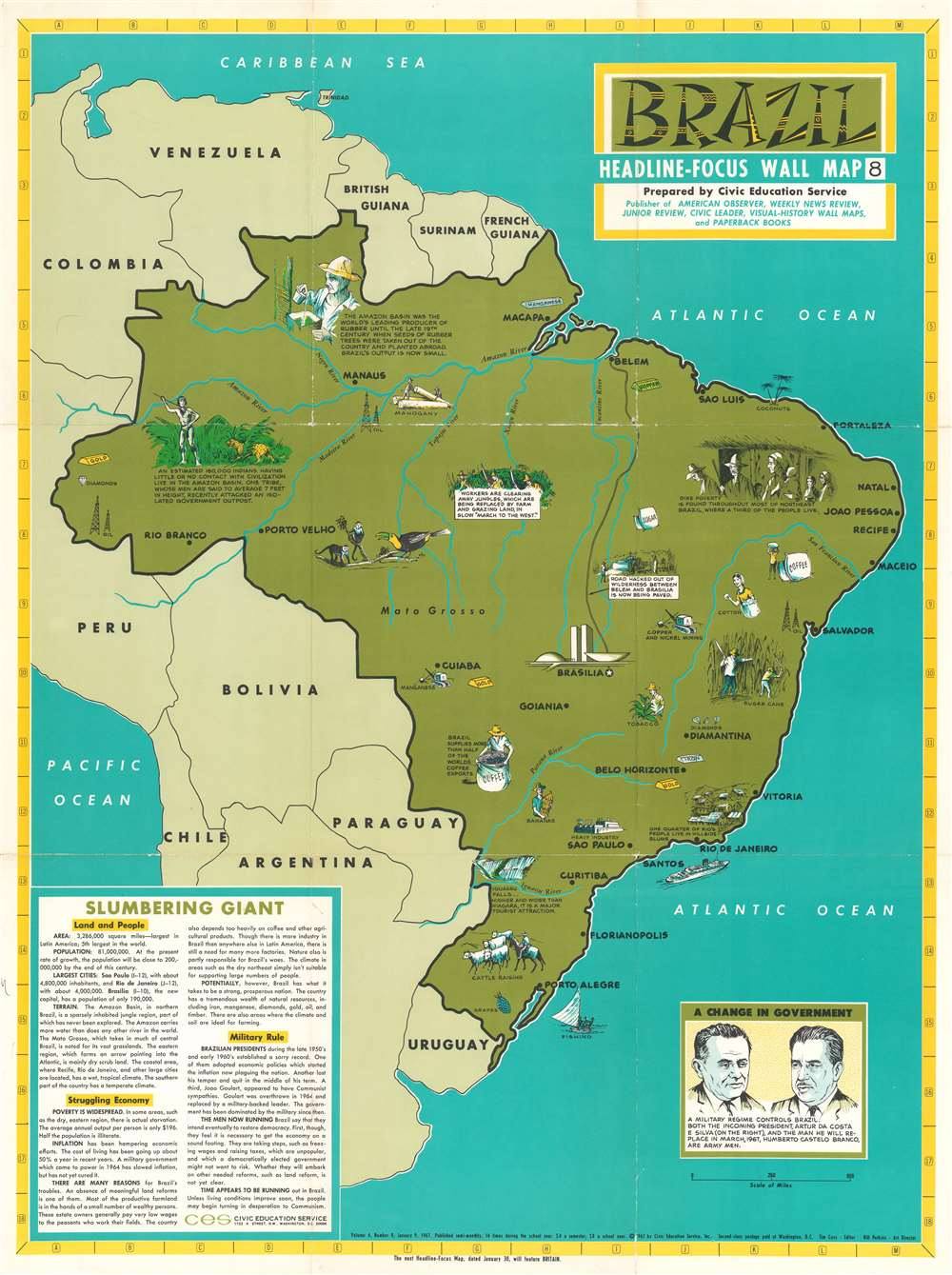 1967 Civic Education Service Pictorial Map of Brazil
