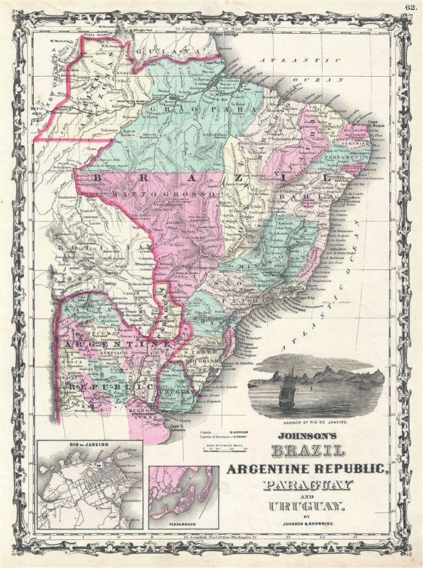 Johnson's Brazil Argentine Republic, Paraguay and Uruguay. - Main View