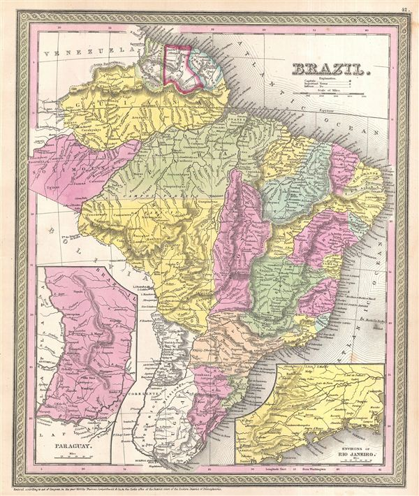 1854 Mitchell Map of Brazil