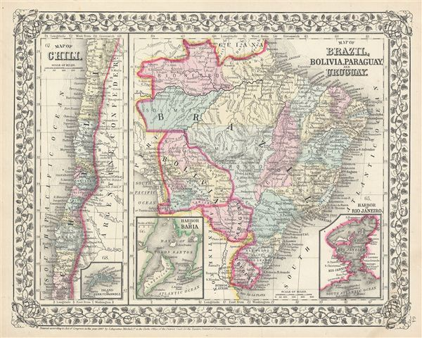 Map of Brazil, Bolivia, Paraguay, and Uruguay.  Map of Chili. - Main View