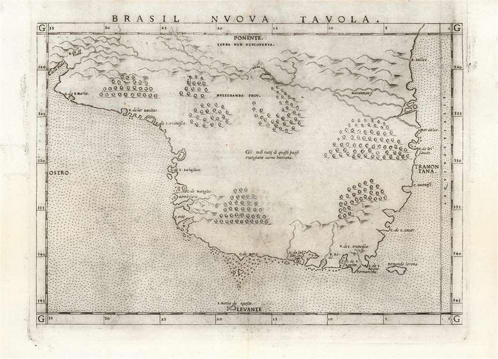 1561 Ruscelli Map of Brazil