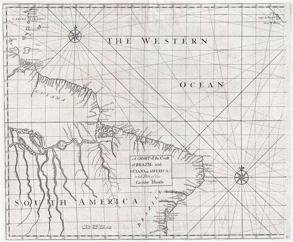 A Chart of the Coast of Brazil and Guiana in America : with Part of the Caribbe Islands