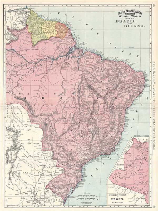 1892 Rand McNally Map of Brazil and Guiana