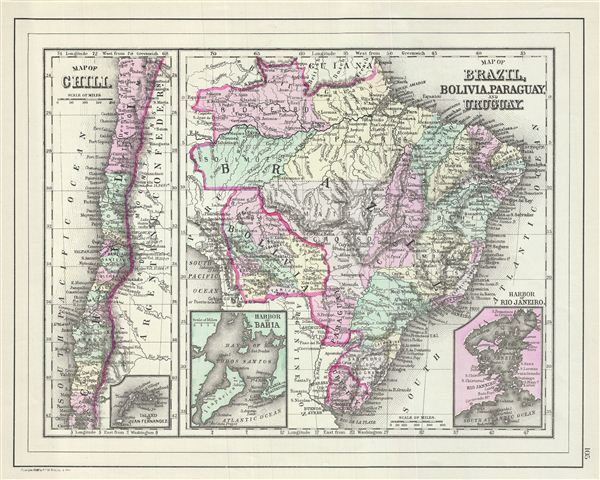 Map of Chili.  Map of Brazil, Bolivia, Paraguay and Uruguay. - Main View