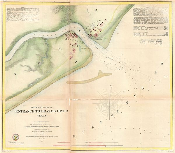 Preliminary Chart of Entrance to Brazon River, Texas - Main View