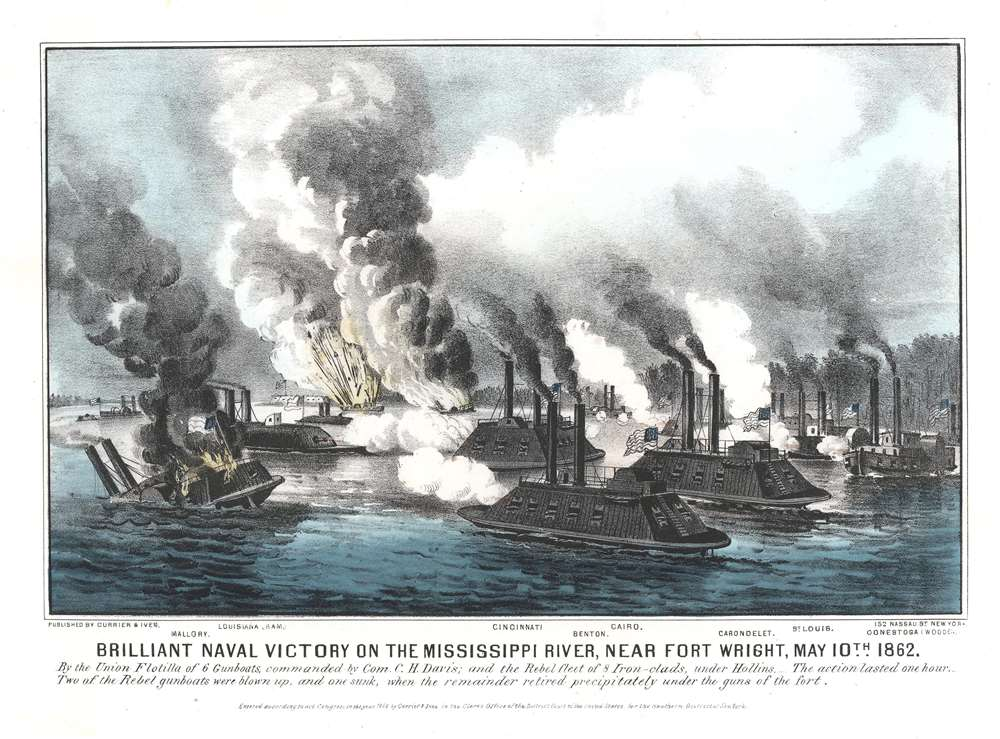 Brilliant Naval Victory on the Mississippi River, near Fort Wright, May 10, 1862. - Main View