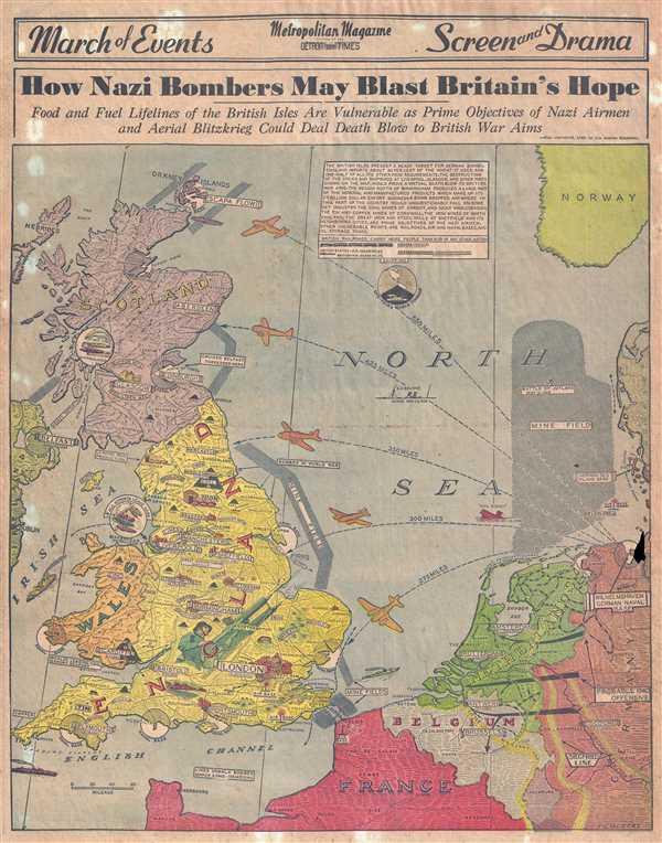 How Nazi Bombers May Blast Britain\'s Hope.: Geographicus Rare ...
