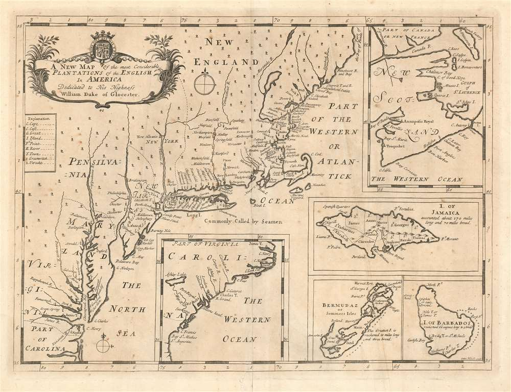 A new map of the most considerable plantations of the English in America - Main View
