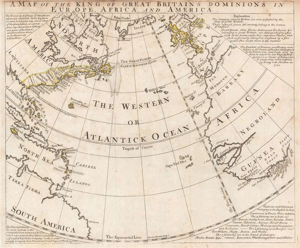 A Map of the King of Great Britain's Dominions in Europe, Africa, and America. - Main View