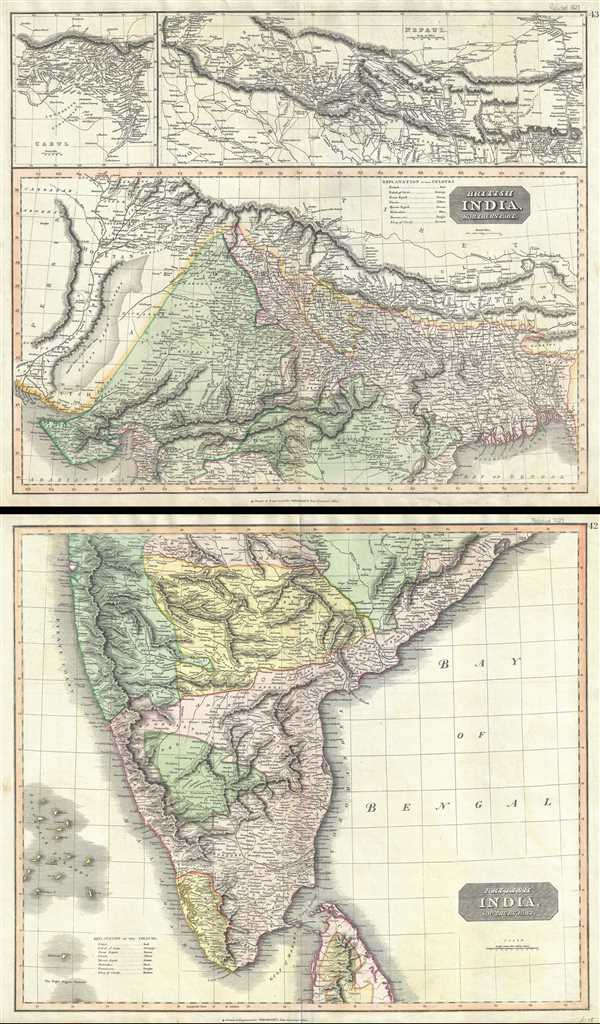 British India, Northern Part.  British India, Southern Part.