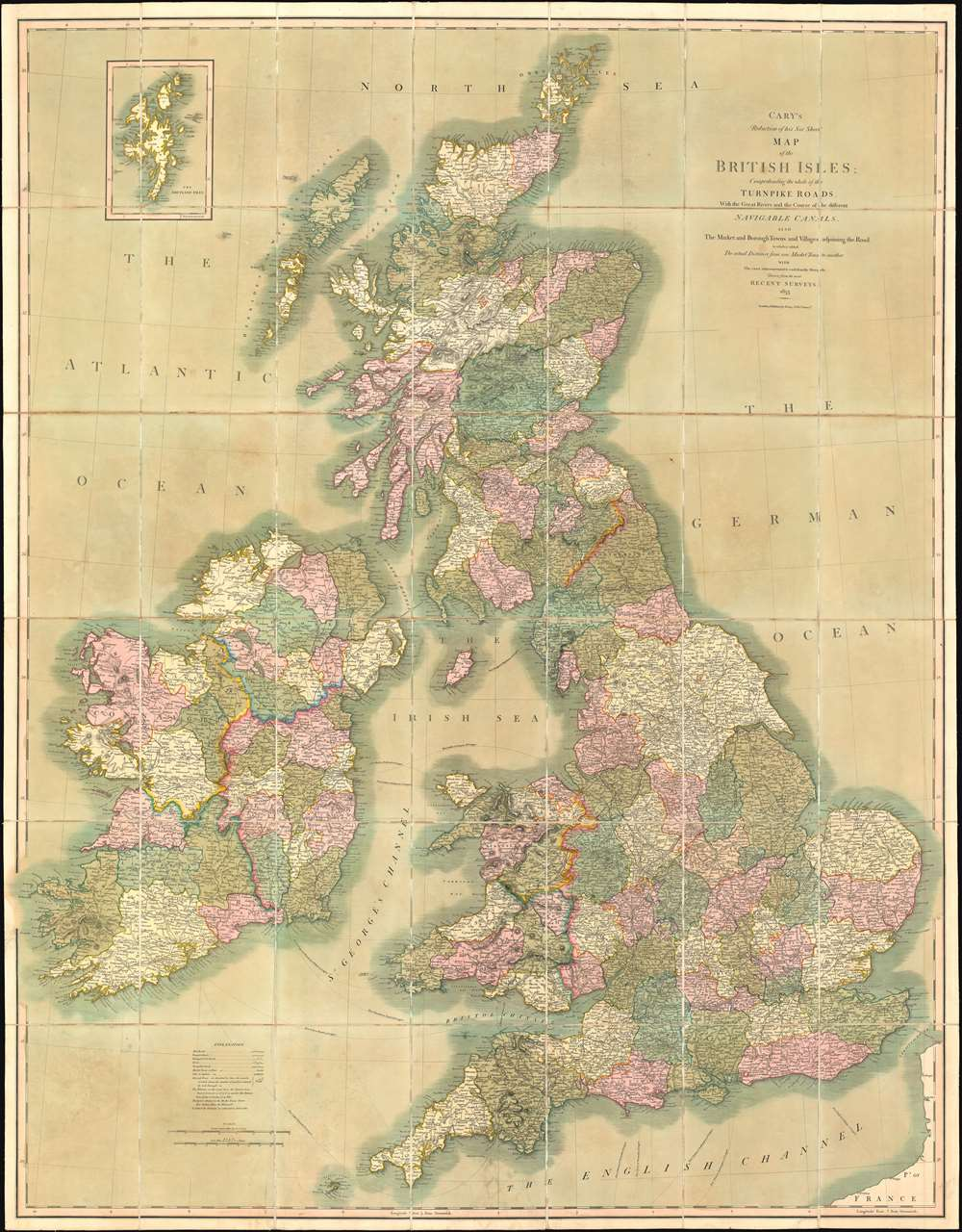 Cary's Reduction of his Six Sheet Map of the British Isles ... on