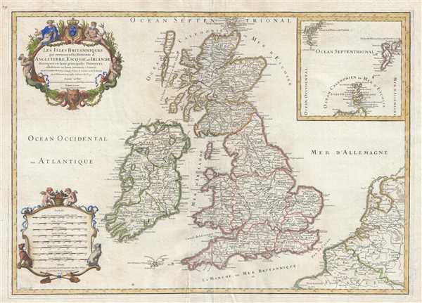 Les Isles Britanniques qui contiennent les Royaumes d'Angleterre, Escosse, et Irlande distingués en leurs principales Provinces : subdivisées en leurs Shireries ou Comtés.