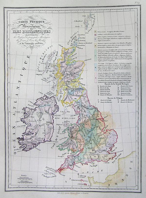 Carte Physique et Mineralogiquedes iles Brittanique…