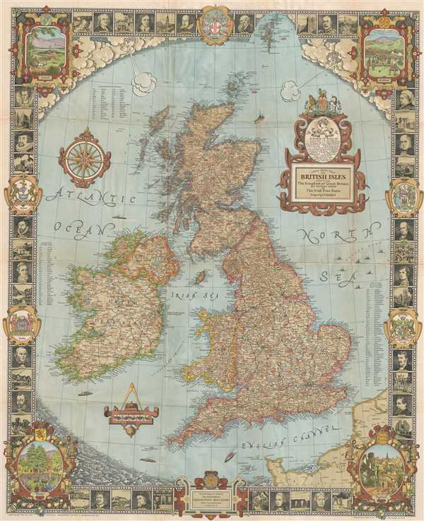 A Modern Pilgrim's Map of the British Isles, or more precisely the Kingdom of Great Britain and Northern Ireland, and the Irish Free State.