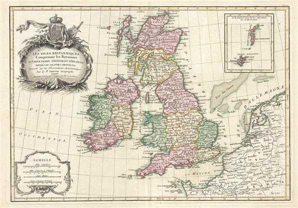 Les Isles Britanniques Comprenant les Royaumes D'Angleterre, D'Ecosse et D'Irlande divisés en Grandes Provinces.