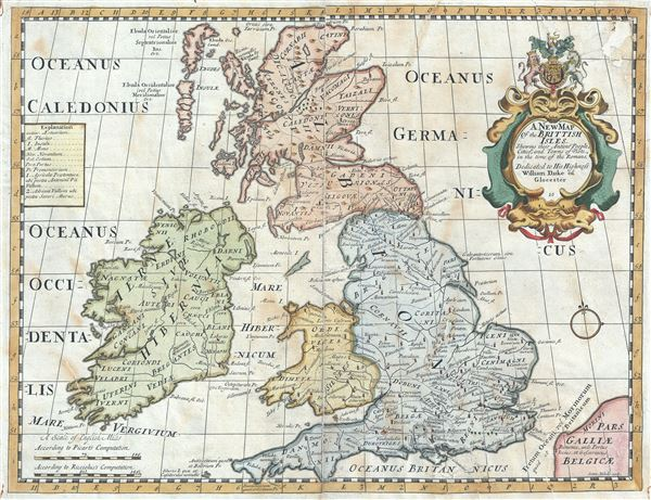 A New Map of the Brittish Isles, Shewing their Antient People, Cities, and Towns of Note, in the time of the Romans.
