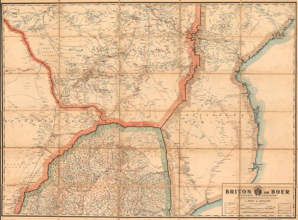 New Map: Briton or Boer Northern Extension. Compiled From Best Available Sources. - Main View