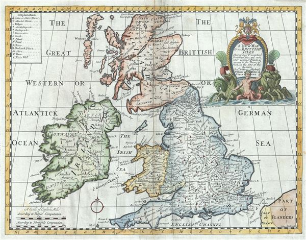 A New Map of the Brittish Isles Shewing their Present Genl. Divisions, Cities and such other Towns, or Places, as answer to the Towns of note, in the time of the Romans. - Main View