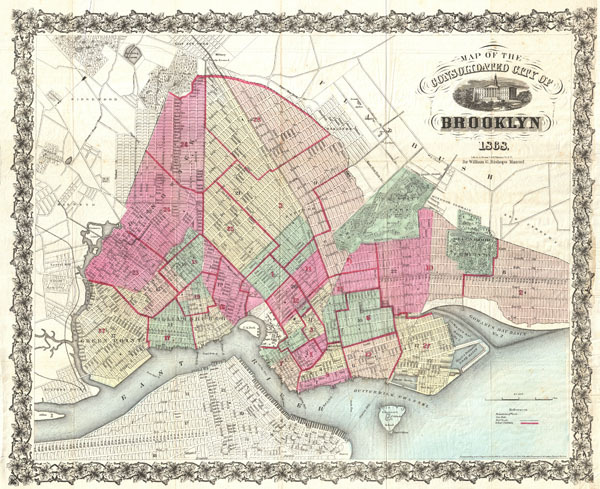 Map of the Consolidated City of Brooklyn Geographicus Rare Antique