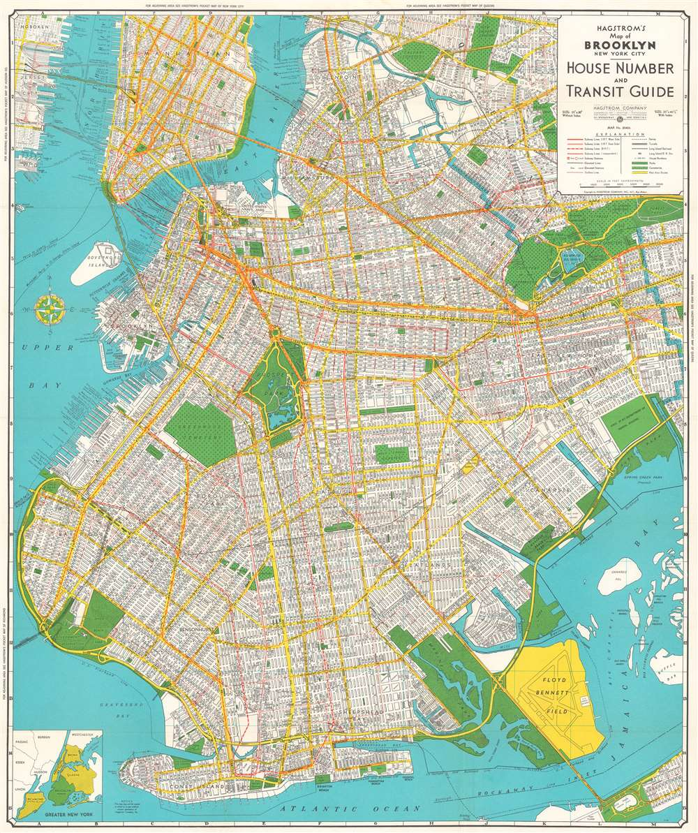 brooklyn map new york Hagstrom S Map Of Brooklyn New York City House Number And Transit brooklyn map new york