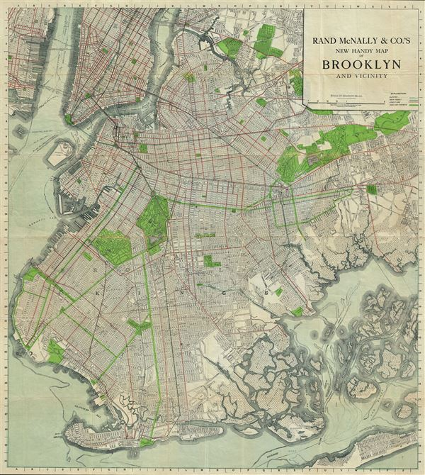 Rand McNally And Cos New Handy Map Of Brooklyn And Vicinity - Rand mcnally online maps