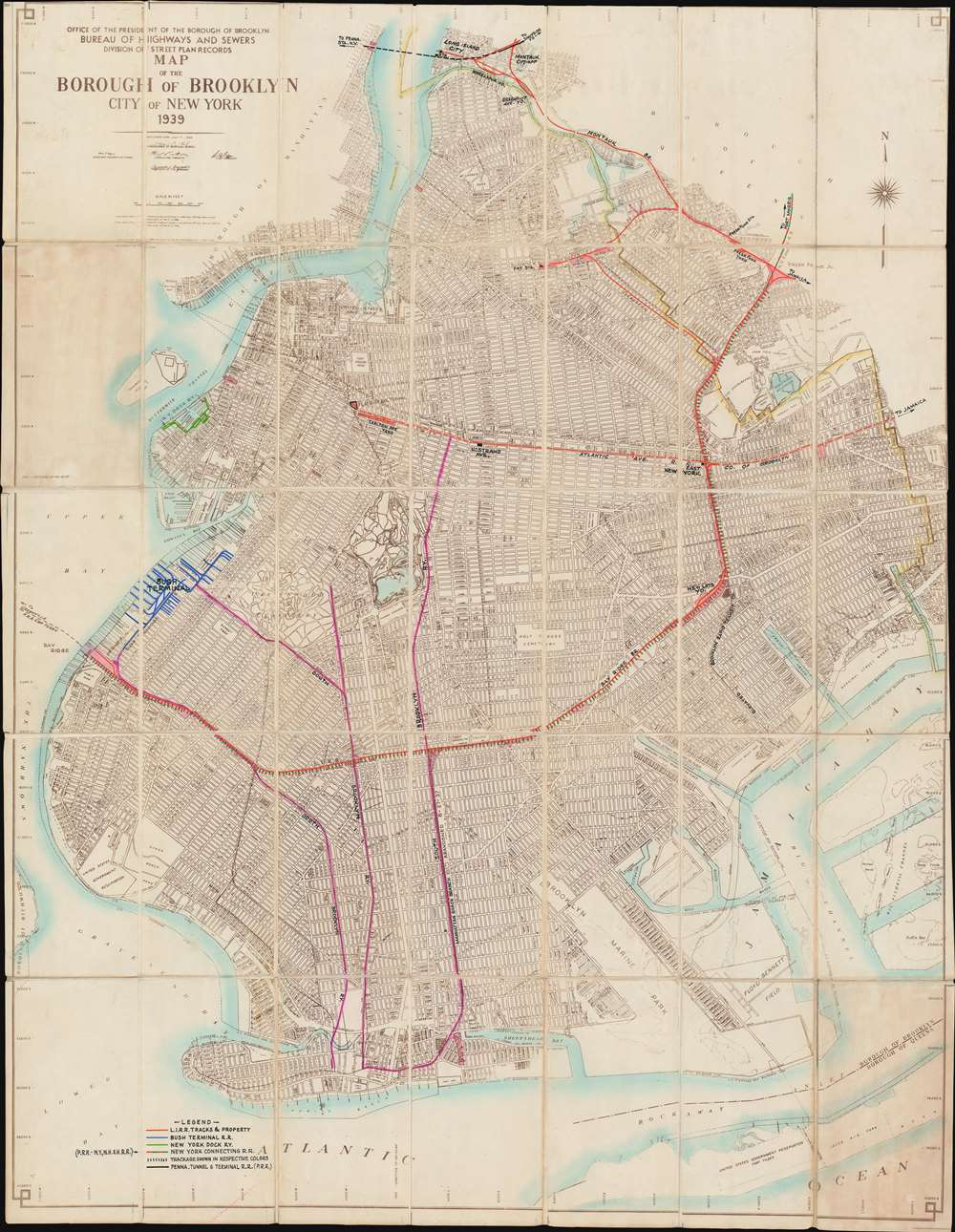1939 Borough of Brooklyn City Map or Plan of Brooklyn w/ Manuscript Railroads