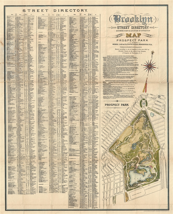 Brooklyn Street Directory Showing Width & Location of Streets & c. with Map o Prospect Park and Horse Car & Elevated Rail Roads Routes.