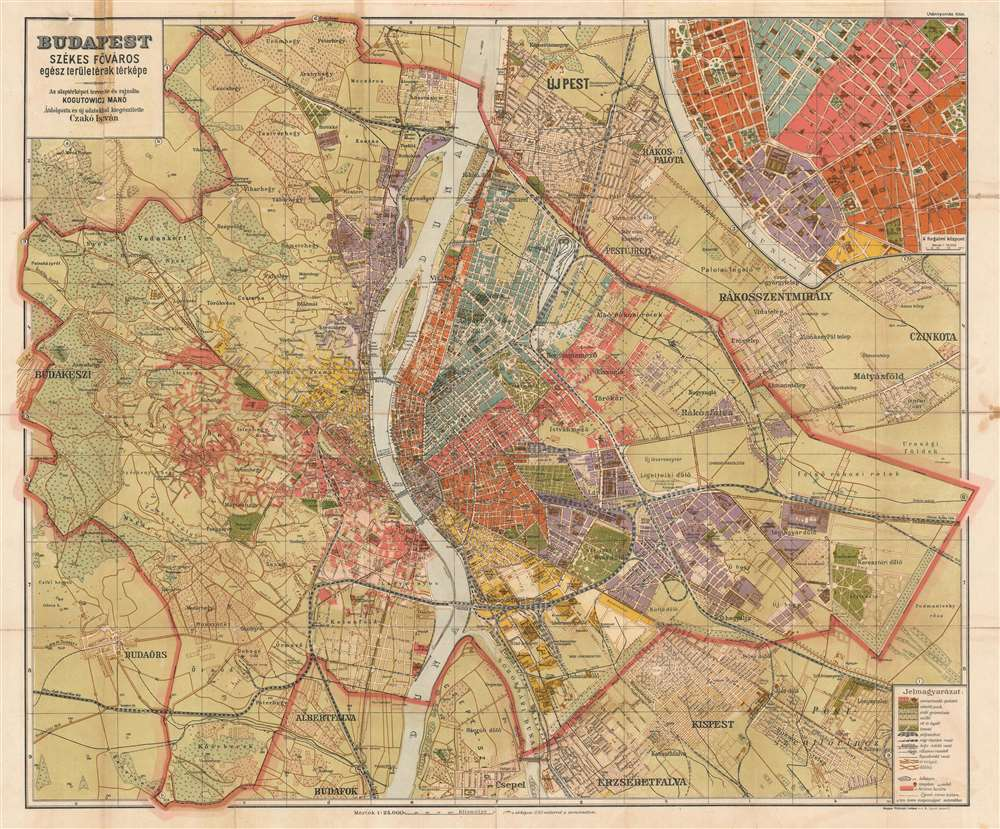 1920 Kogutowicz and Czako City Map or Plan of Budapest, Hungary