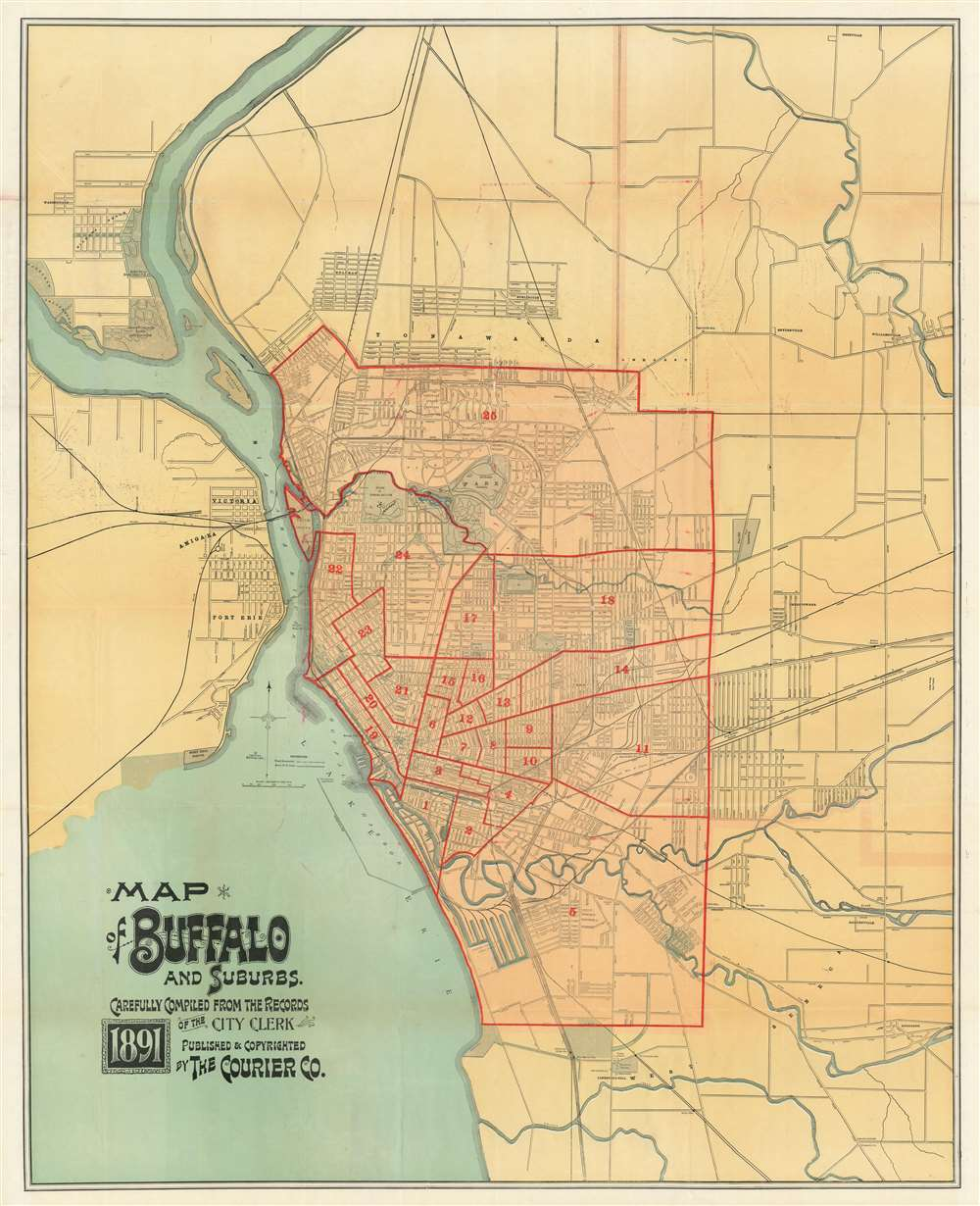 Map of Buffalo and Suburbs. Carefully Compiled from the Records of the City Clerk. - Main View