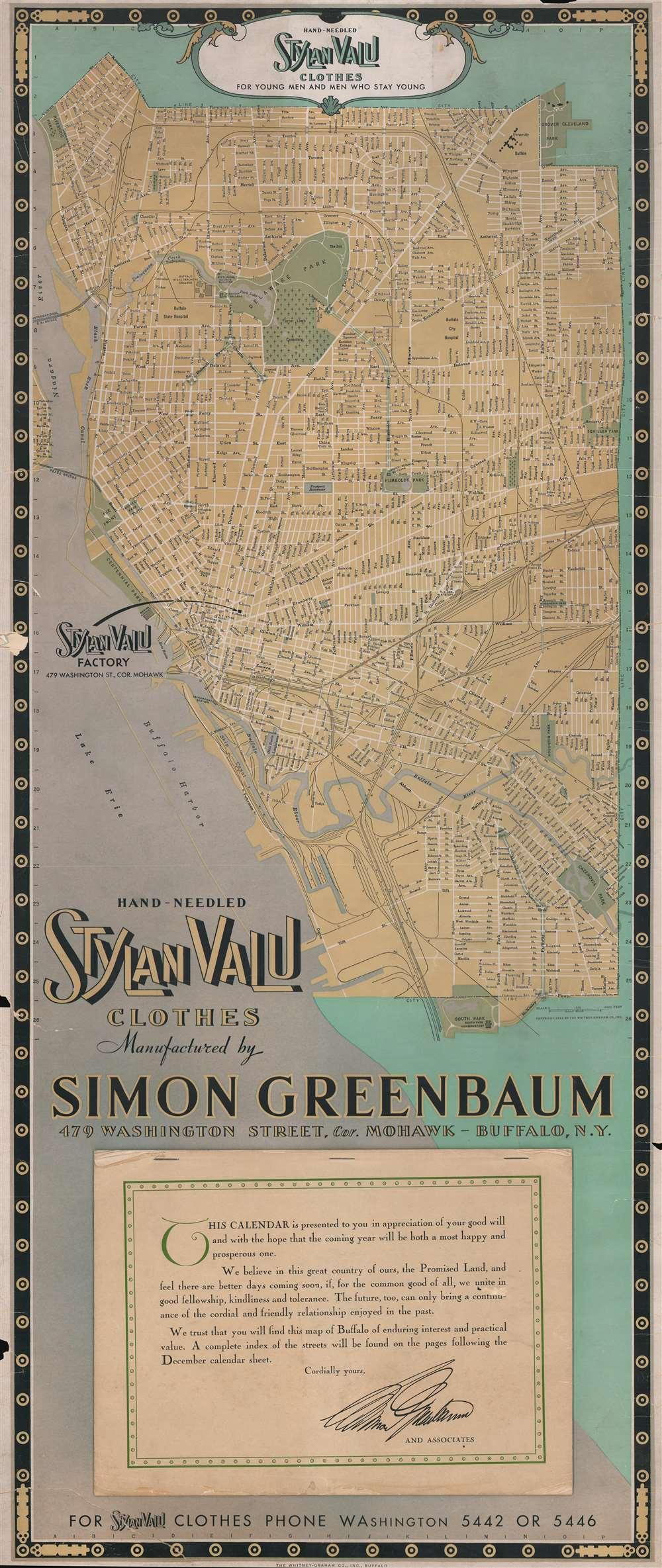 Hand-Needled Stylan Valu Clothes Manufactured by Simon Greenbaum 479 Washington Street, Cor. Mohawk - Buffalo, N.Y.