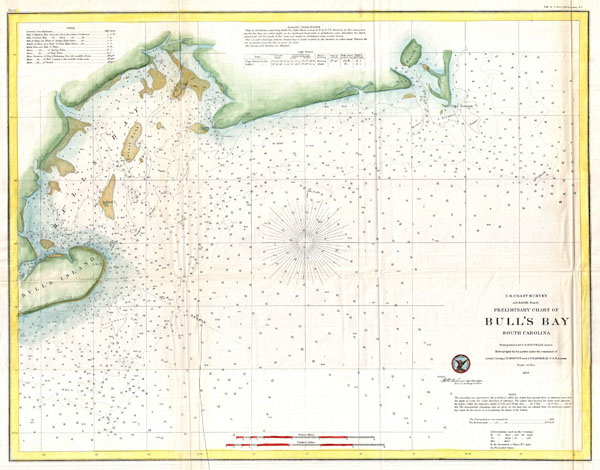 Preliminary Chart of Bull's Bay South Carolina.