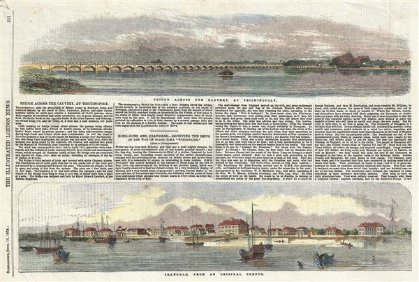 Shanghai From an Original Sketch.  Bridge across the Cauvery, at Trichinopoly. - Main View