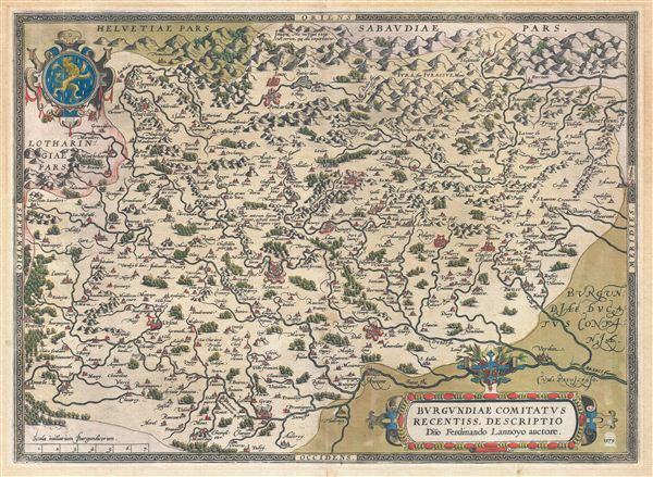 Burgundiae Comitatus Recentiss Descriptio Dno Ferdinando Lannoyo auctore.