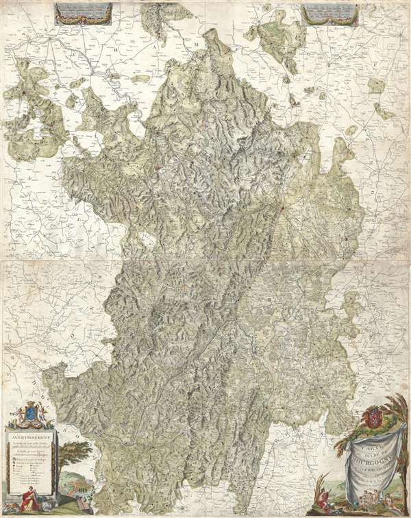 Carte du Duché de Bourgogne, Comtés et Pays adjacents dressée par Ordre de M.M. les Elus Généraux de la Province.
