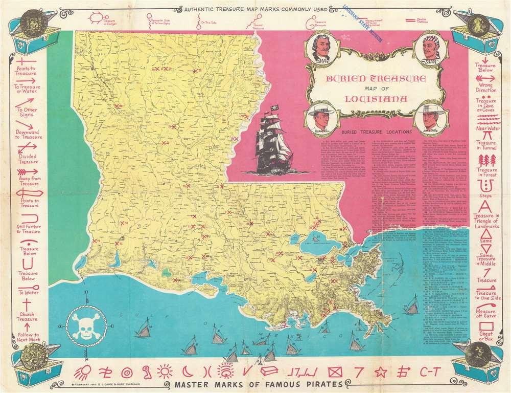 Buried Treasure Map of Louisiana. - Main View