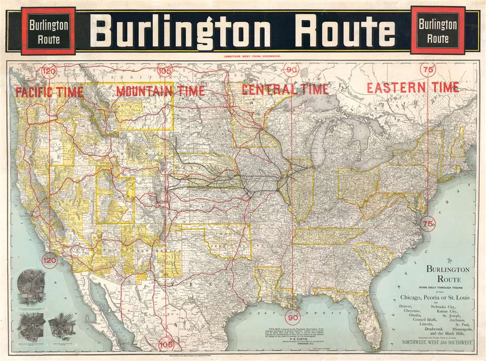 1892 Rand McNally Map of the United States and the Burlington Railroad