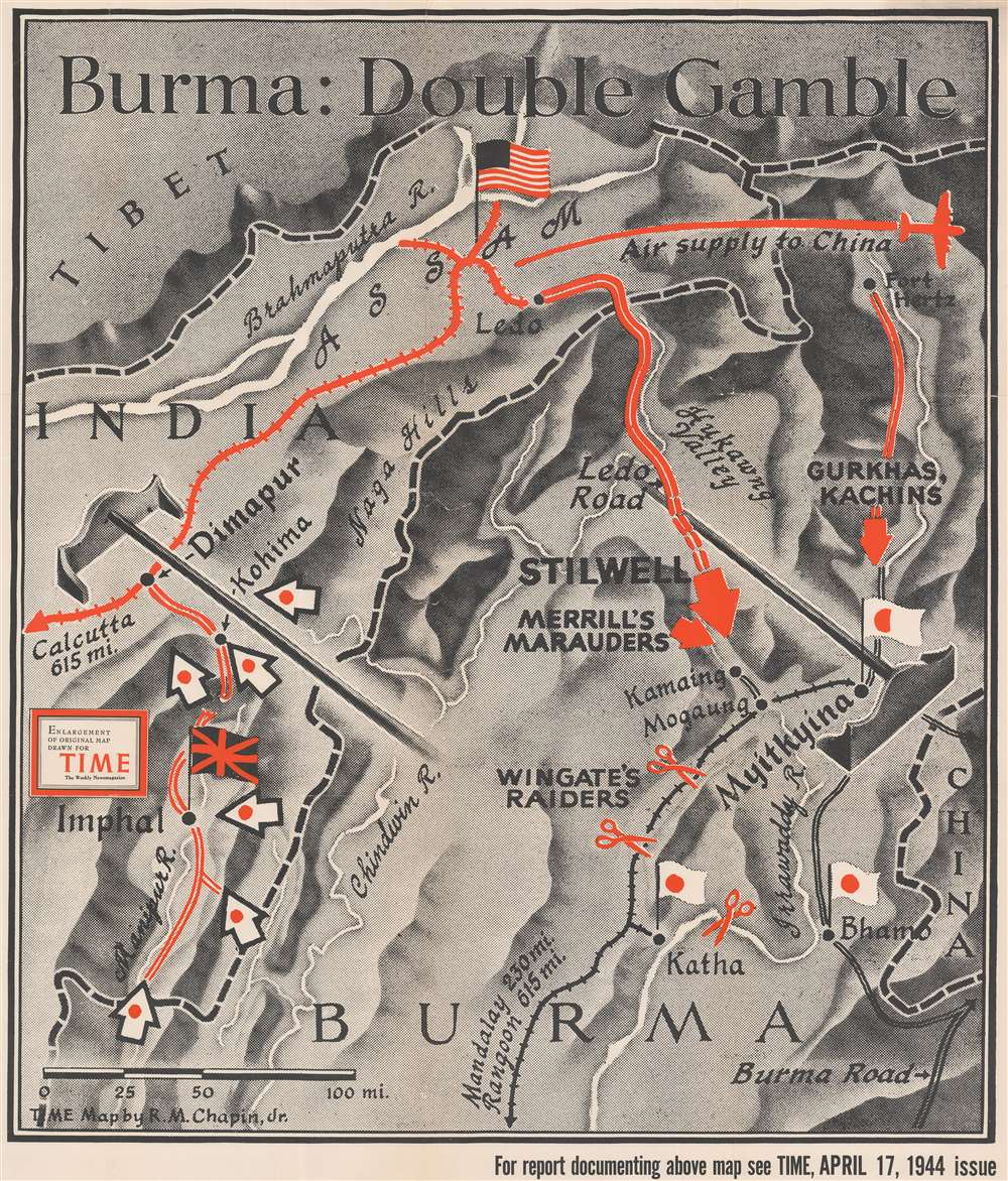 1944 Chapin Map of Burma / Myanmar during World War II