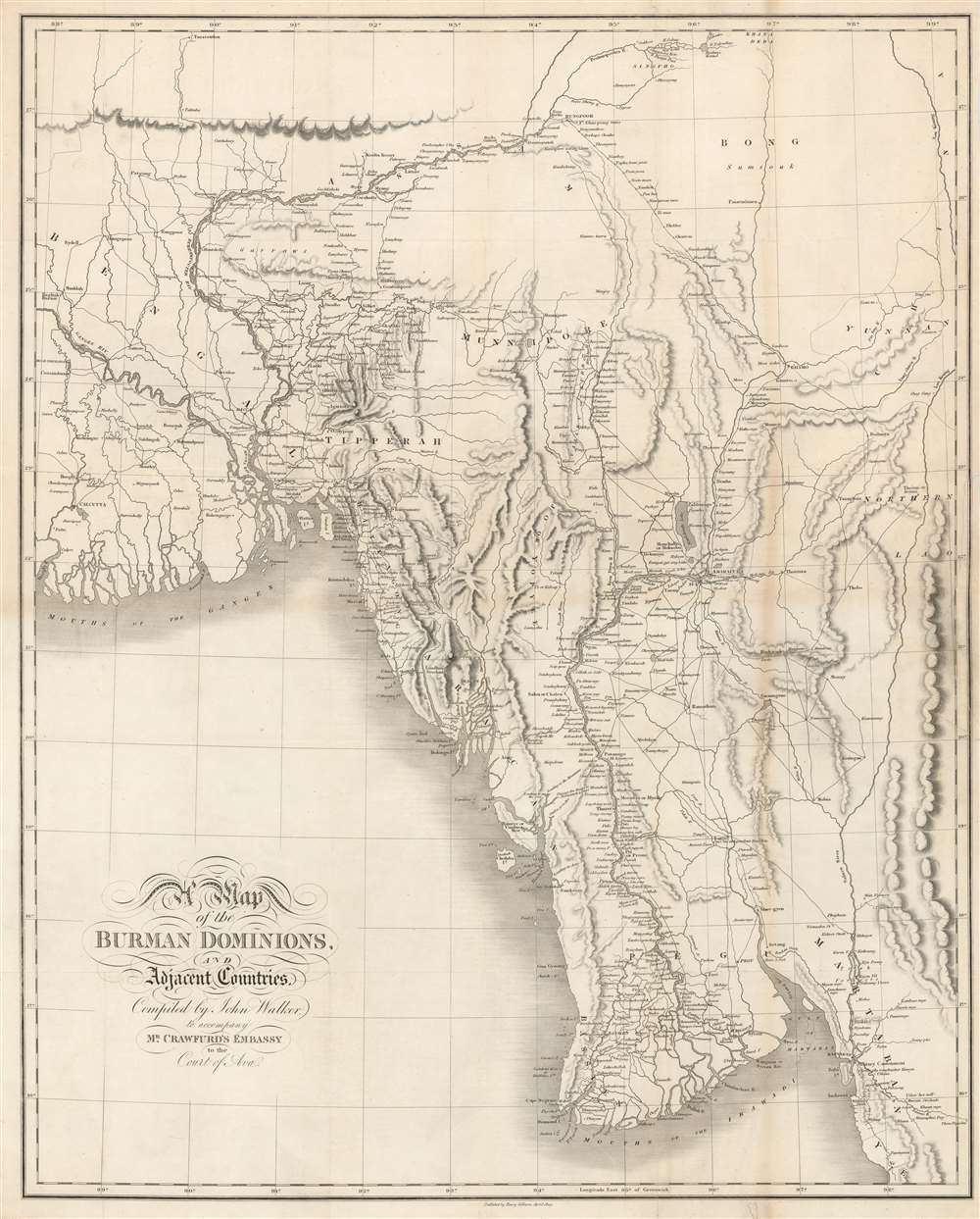 1829 Crawfurd Map of Burma or Myanmar - first accurate map of Burma!